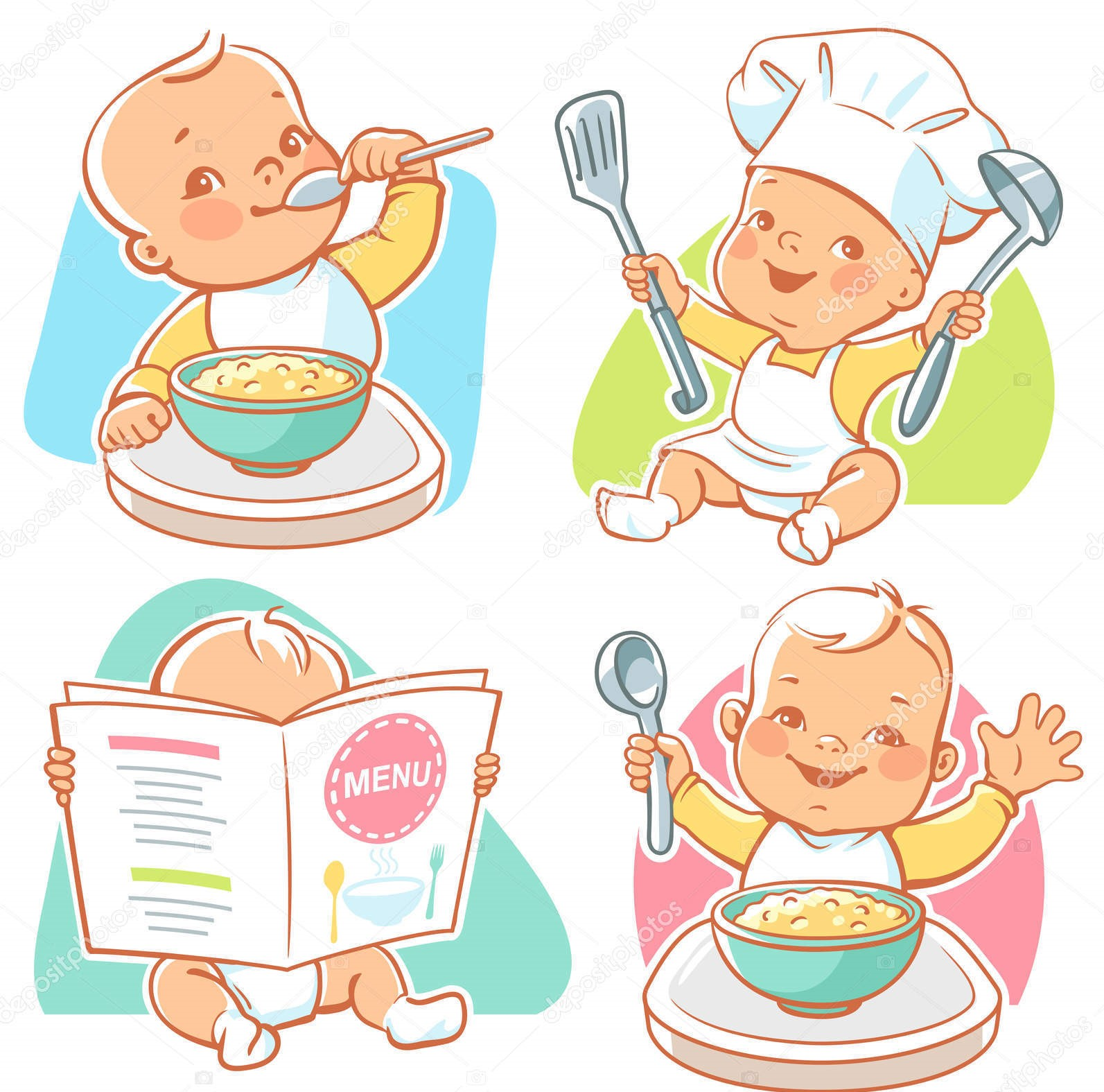 Set of vector illustrations with cute little babies. Toddler eating porridge, boy sit at table, kid in diaper reading menu, happy child wearing cook hat. Healthy food emblem. Vector illustration